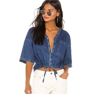 $188 Adriano Goldschmied button down denim crop